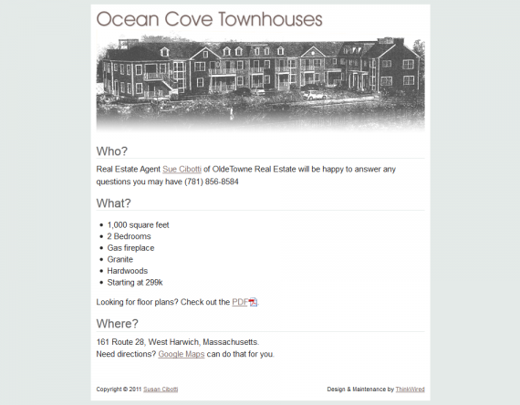 ocean cove townhouses one page web flyer
