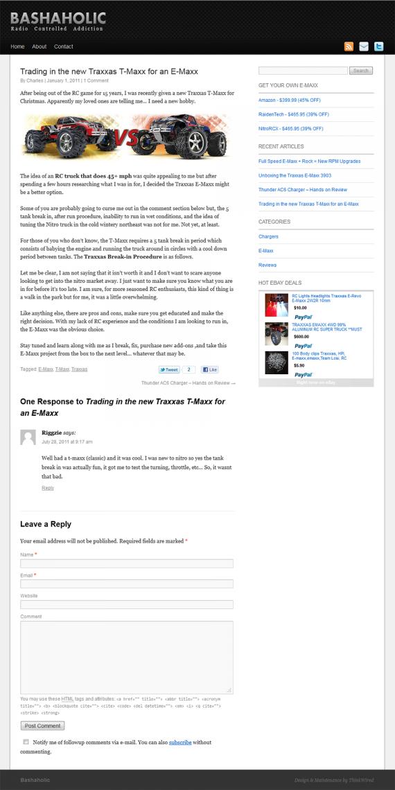 bashaholic wordpress design